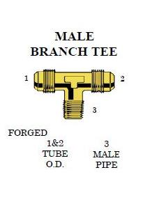 Brass 45º Flare Branch Tee – FORGED 1/4 Female X 1/4 Female X 1/8 NPT Male