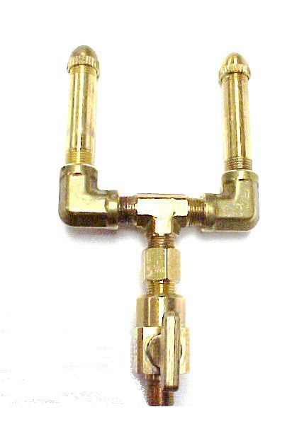 Brass Double Open Flame Burner with Brass Valve (Round Tip)