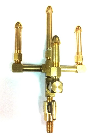 Basic Brass - 4 Stem 2 Tiered Open Flame Burner with Brass Valve