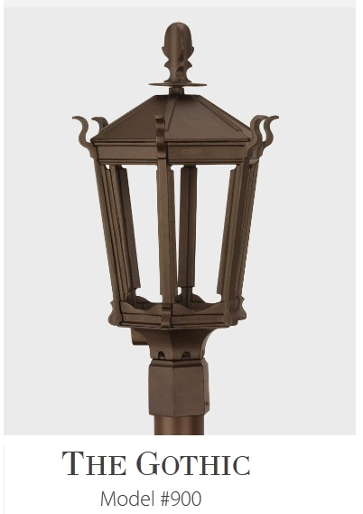 Gothic -  Residential Series Cast Aluminum Gas or Electric Lantern