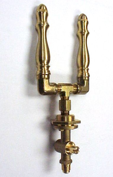 Brass Spindle (SP101DBL-VLVDT) - Double Open Flame Burner & Valve Combo