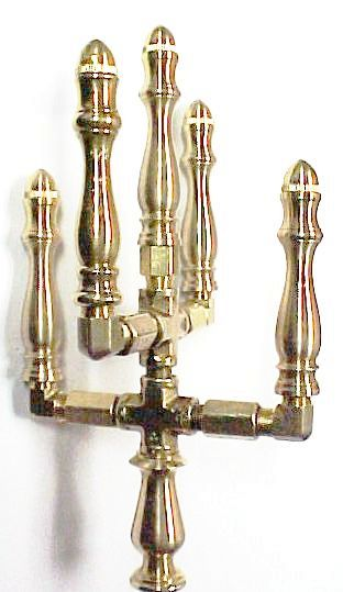 Brass Spindle (SP101W) - 5 Stem - 2 Tiered Open Flame Burner