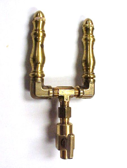 Brass Spindle (SP107) - Double Open Flame Burner & Valve Combo