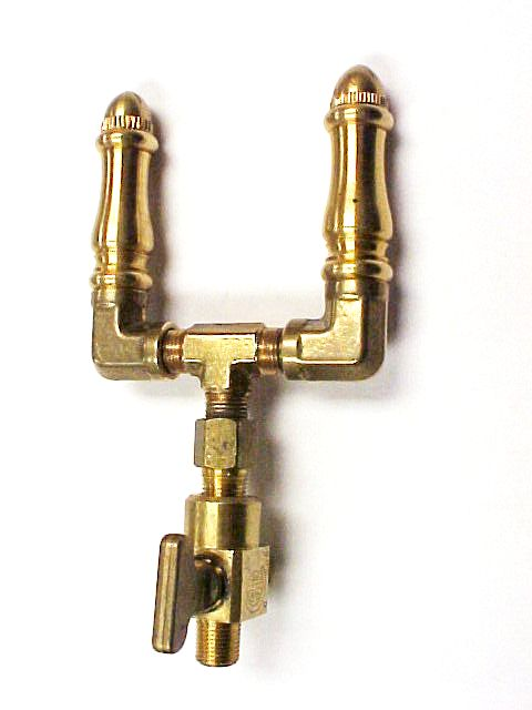 Brass Spindle (SP108) Double Open Flame Burner with Brass Valve