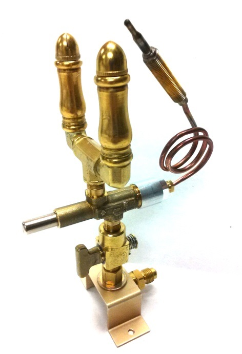 (SP108DBL) - Double Open Flame Burner, Safety Shut-off, Valve & Bracket