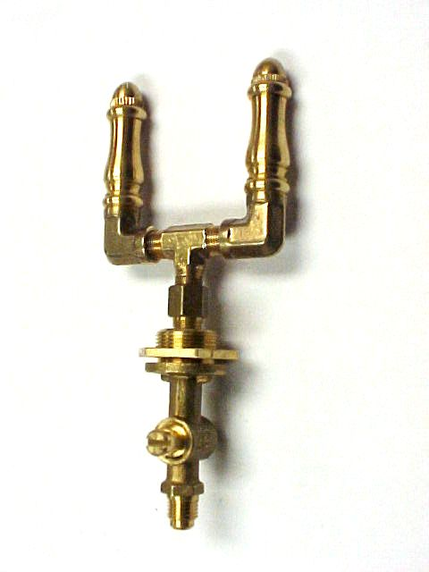 Brass Spindle (SP108DBL-VLVDT) - Double Open Flame Burner & Valve Combo