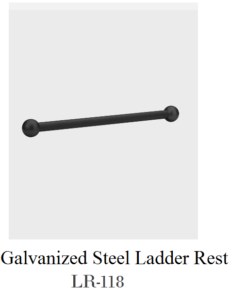 Galvanized Steel Ladder Rest w/Cast Metal Ornamental Balls